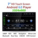 Suncer Car Double Din 7″ Touch Screen Android 6.0 GPS Navigation AM FM Radio WiFi Bluetooth Mirror Link Rear View Camera AUX Audio Stereo 1080P Video Player MP5
