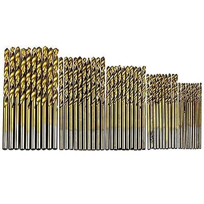 50Pcs Plating Titanium Coated Metal HSS High Speed Steel Drill Bit Set Tool