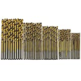 50Pcs Plating Titanium Coated Metal HSS High Speed Steel Drill Bit Set Tool