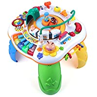 Forstart 10 in 1 Learning Sit to Stand Music Activity Table Musical Educational Discovering Toys Railway High-Speed Train Play Activity Center Baby Kids Toddler Birthday Gift