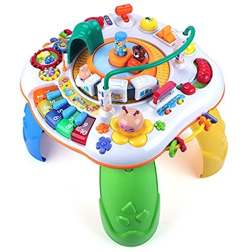 (Forstart Learning Activity Table Musical Educational Discovering Toys Sit to Stand Railway Train Play Activity Center Baby Kids Toddler Birthday Gift)