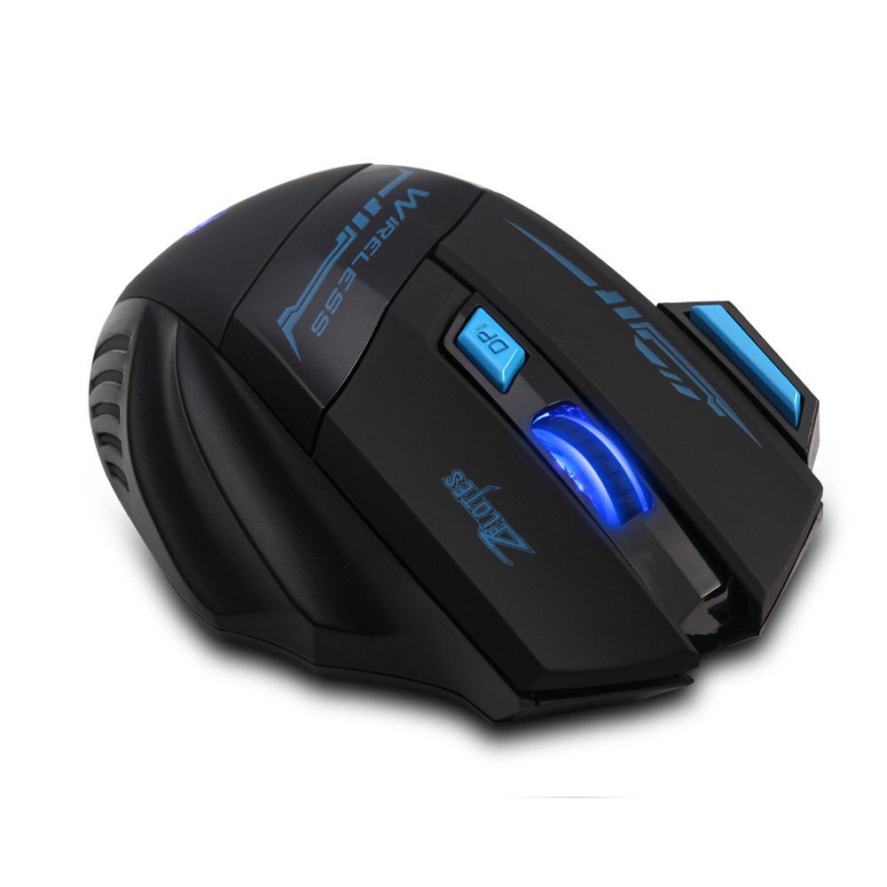 [New Version] Zelotes F14 Professional Blue LED 2400 DPI 9 Buttons USB 2.4G Optical Wireless Gaming Mouse Mice for gamer(Black) by Zelotes (Image #5)