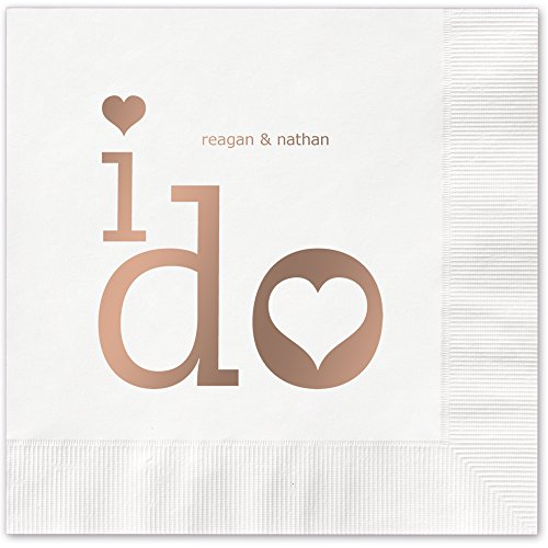 I Do Personalized Luncheon Dinner Napkins - Canopy Street - 100 Custom Printed White Paper Napkins with choice of foil stamp