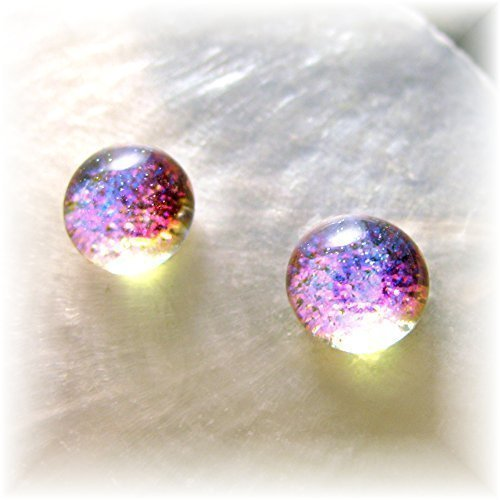 Translucent Mermaid Tears Bright Pink Magenta Opal Dichroic Glass Earrings (Love Dichroic Glass)