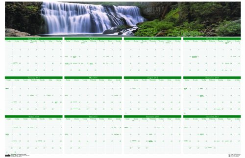 House of Doolittle Earthscapes Waterfalls Laminated Write-On/Wipe-Off Wall Planner, January 2015 to December 2015, 24 x 37 Inches, Recycled (HOD397) ()