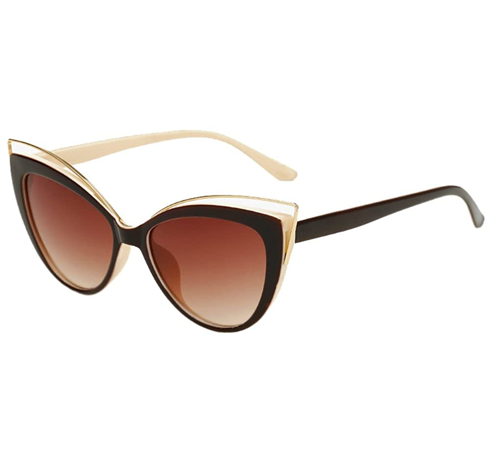 Mujer Niñas Retro Moda Al Aire Libre UV400 Ojos De Gato Gafas De Sol Gafas  Marrón 7b88e0468676
