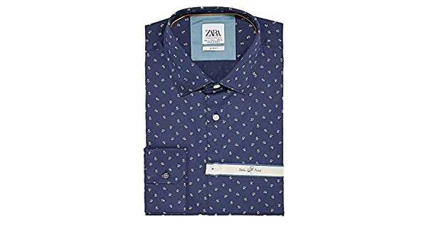 Zara 6103/403 - Camiseta de Manga Corta para Hombre - Azul ...