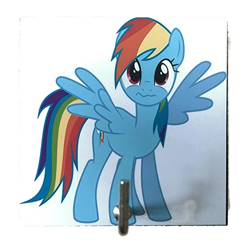 [Agility Bathroom Wall Hanger Hat Bag Key Adhesive Wood Hook Vintage My Little Pony Rainbow Dash's] (Vinyl Rock Star Costumes)
