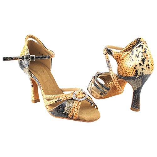 Scarpe Piccione Oro Party Party Sera1154 Comfort Sera Dress Pump, Scarpe Da Sposa: Scarpe Da Ballo Da Donna Tacco Medio-alto, Salsa, Tango, Latino, Swing Salsa Tango Swing Latino 1154-black Snake Arancione
