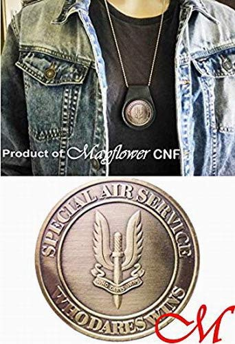 Mayflower CNF Coin &Leather Holder - British Special Air Service - Who Dares Wins - Collectable