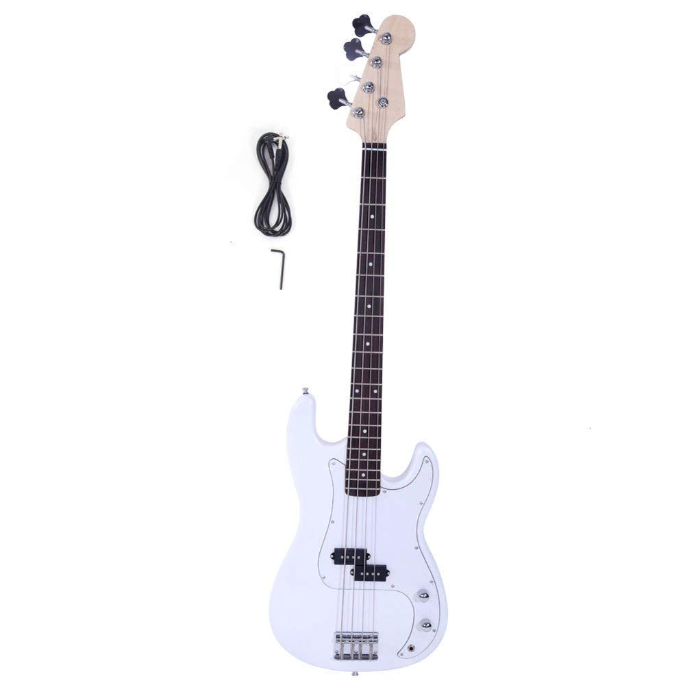 Yoshioe Electric Bass Guitar Full Size 4 String Rosewood Basswood Fire Style Exquisite Burning Bass White
