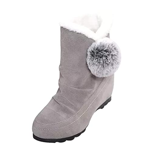 ... Tobillo con Punta Redonda Zapatos de Cuña Botas con Tobillo Pisos Zapatos Casuales Botas de Zapatillas con Pompones: Amazon.es: Zapatos y complementos