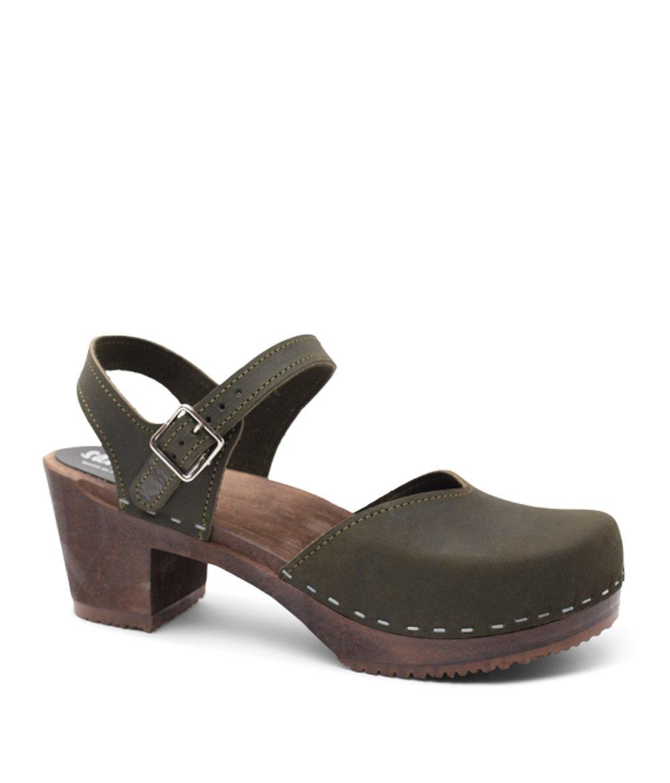 Swedish Wooden High Heel Clog Sandals for Women | Victoria in Olive by Sandgrens, size US 8 EU 38 by Sandgrens