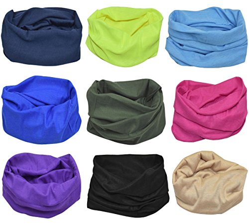 Jadedragon Multifunctional Magic Headband High Elastic Seamless Bandana Scarf UV Resistence Athletic Headwear Headwrap, Mens Sweatband, Womens Hairband (Solid Color series)