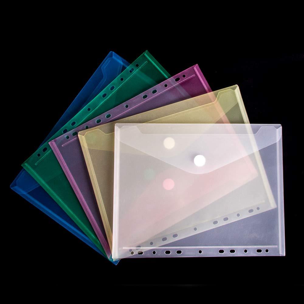 5 PCS A4 Pochettes Transparent,Siebwinn 11-Hole Pochette Document Avec Fermeture Velcro 24x31cm