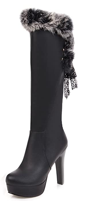official supplier many choices of hottest sale Aisun Women's Elegant Lace Up Round Toe Dressy Platform High Heel Knee High  Boots with Faux Fur