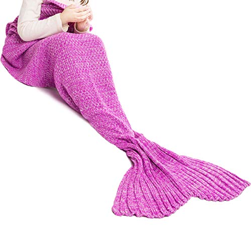 JR.WHITE Mermaid Tail Blanket for Kids,Hand Crochet Snuggle Mermaid,All Seasons Seatail Sleeping Bag Blanket (Kids-Pink-2)
