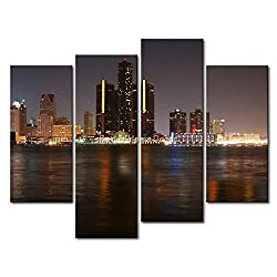 YEHO Art Gallery Painting Detroit Skyline Print On Canvas The Picture City Pictures Oil For Home Decoration Prints Decor