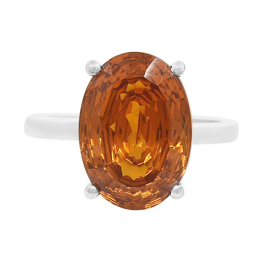 Desiregem Padparadscha Sapphire Lab Created 10x14 MM Oval Shape 925 Sterling Silver Ring Size 6-10 DGR1089/_E