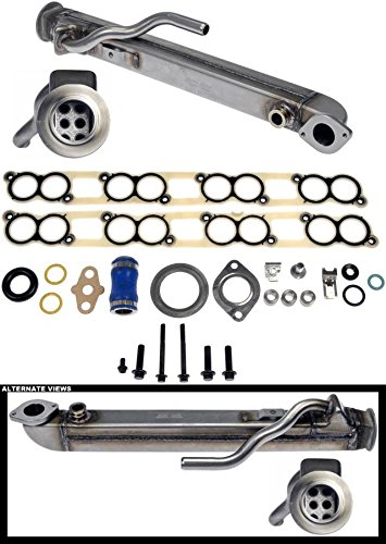 APDTY 015373 EGR Cooler Kit With Gaskets (Upgraded Stainless Straight Tube Design) For 2004-2010 Ford 6.0L Diesel (F250, F350, F450, F550, F650, F750)( 4C3Z9P456AJ)