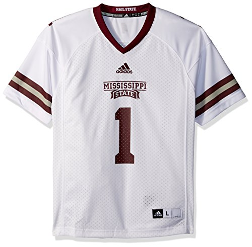 OuterStuff NCAA Mississippi State Bulldogs Youth Boys Player Replica Fashion Football Jersey, X-Large (18), White State Bulldogs Football Jersey