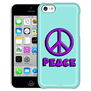 Apple iPhone 5C Case, Slim Fit Snap On Cover by Trek Purple Peace on Turquoise Trans Case