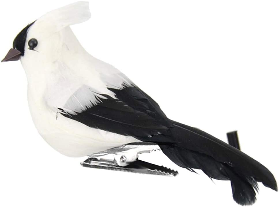 LOVIVER Lifelike Artificial Feathered Foam Birds, DIY Parrot Crafts Ornament, Clip On Design for Home Garden Decoration - White