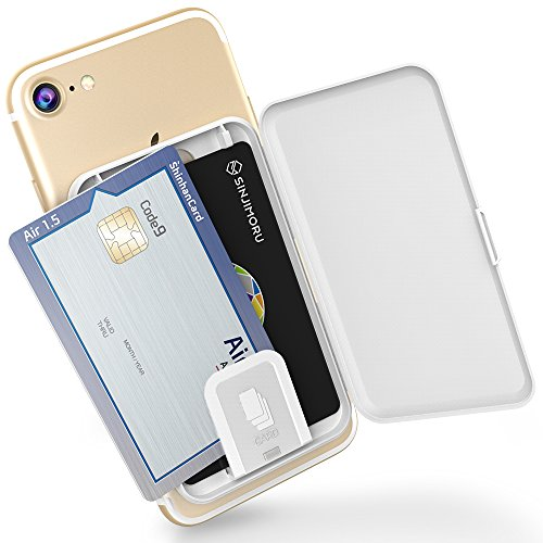 Sinjimoru Phone Card Holder, Stick-on Phone Card Case/Phone Wallet/Credit Card Holder on Back of Phone for up to 3 Cards and Cash Card Zip, White.