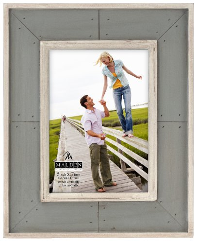 Designs Sun Washed Woods Gray Distressed With Inner Frame Border Picture Frame, 5x7, Gray (Americana Wall Borders)