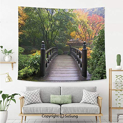 - Nature Wall Tapestry,Wooden Bridge at Portland Japanese Garden Oregon in Foggy Autumnal Morning Park,Bedroom Living Room Dorm Wall Hanging,92X70 Inches,Green Coral