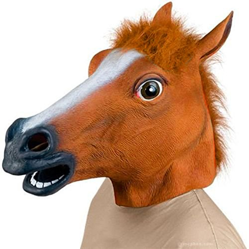 [SUNKY- Horse Adult Latex Head Mask Creepy Animal Costume for Halloween Party] (Carnival Mask Costume)