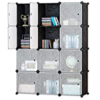 Honey Home Storage Cube Closet Organizer,Portable Cube Closet Wardrobes for Bedroom, DIY Modular Cabinet Shelving Storage Organizer Plastic Closet with Easy closed Doors- 12 Black & White Cubes