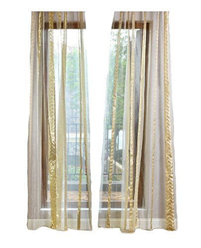 ASide BSide Modern Style Sheer Curtains Rod Pockets Wrap Knitting Jacquard Flowers Design Metallic Window Decoration For Living Room Dining Room and Kids Room (1 Panel, W52 x L63 inch, Gold) by ASide BSide