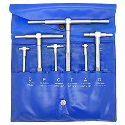 "6 Pc Precision Telescoping Gage Set 5/16"" - 6"" Range T-Bore Hole Gauges w/ Pouch"