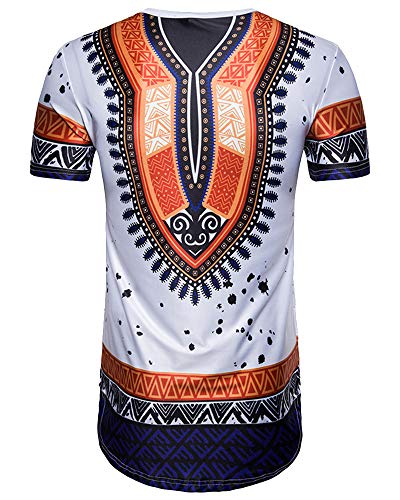 Mens Fashion Printed Short Shirts - Summer African Tops Casual Slim Blouse White S