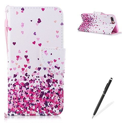 - MAGQI iPhone 7 Plus/iPhone 8 Plus PU Premium Leather Phone Cases, Flowers Panda Unicorn Cover and [Scratch Proof] Flexible for iPhone 7 Plus/iPhone 8 Plus Flip Wallet Shell-Pink Heart