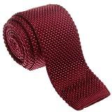 Retreez Vintage Smart Casual Men's 2'' Skinny Knit Tie - Burgundy