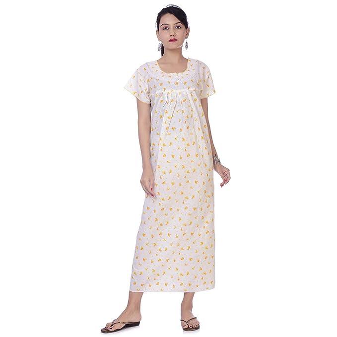 c55cc8fc6 Image Unavailable. Image not available for. Color  Apratim Indian Women  Cotton Night Gown Bikni Cover Plus Size Comfy Evening ...