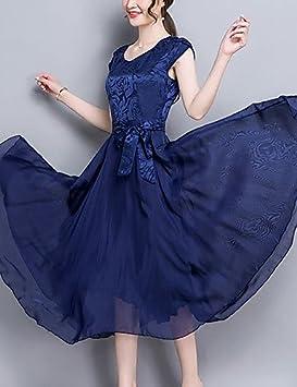 DESY Mujer Corte Swing Vestido Noche Fiesta/Cóctel Tallas Grandes Vintage Sofisticado,Un Color
