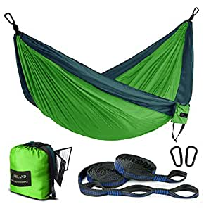 Outdoor Camping Hammock - Portable Anti-fade Nylon Double Hammock with 2 Piece 16 Loop Straps by FARLAND - Parachute Lightweight Hammock for Hiking Backpacking