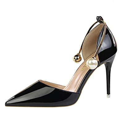 2fe4c7975ed916 MAKEGSI Sexy Women s Pearl Decorating A Word Buckle Pumps Patent Leather High  Heels Sandals (5