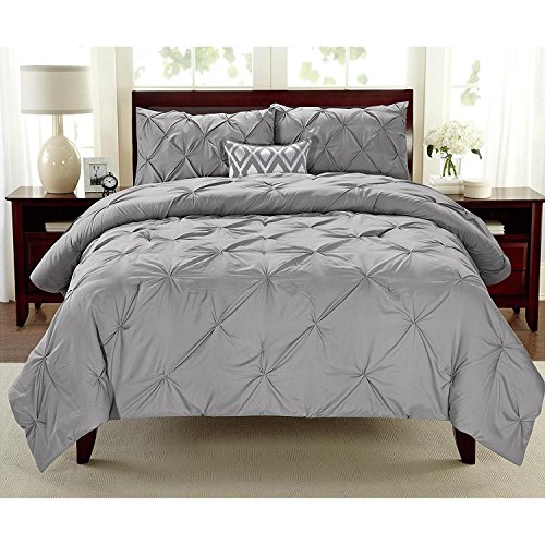 3pc Girls Silver Full Queen Abstract Pintuck Pinched Pleat Patterned Comforter Set, Grey Shabby Chic Tuffted Adult Bedding Master Bedroom French Country Vibrant Colorful Elegant, Polyester by D&D