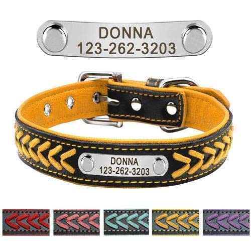 - Dottiete Custom Leather Dog Collar Personalized Engraved Puppy Cat Dog Tag Collar With Nameplate For Small Medium Large Dogs (Size S)