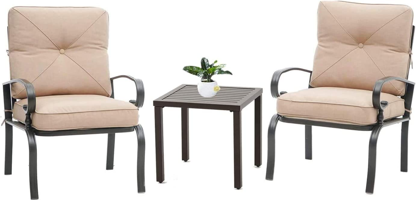 Oakmont 3 Piece Outdoor Furniture Patio Bistro Chairs Metal Dining Furniture Set, All-Weather Garden Seating Chair Brown
