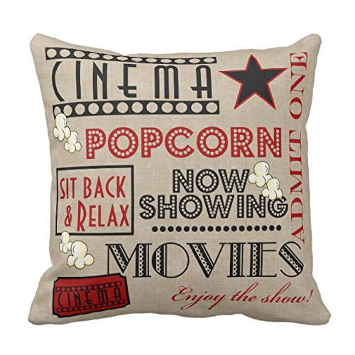 UOOPOO Movie Theater Cinema Admit One Ticket Pillow-red Home Decorative Throw Pillow Cover Square 20 x 20 Inches Cotton Canvas Wedding Pillow Case Cushion Cover for Sofa One Side Printed