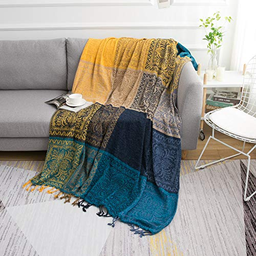 (famibay Chenille Throw Blankets Bohemian Jacquard Sofa Cover with Fringes for Bed Couch Decorative Multi Purpose Soft Chair Sofa Cover (Yellow/Blue, 75