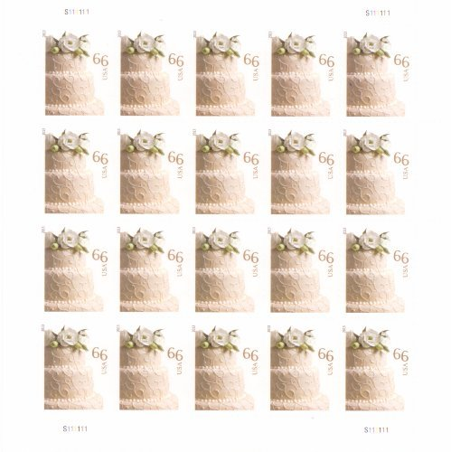 Wedding Cake Sheet of 20 x 66 cent U.S. Postage (Wedding Cake Stamp)