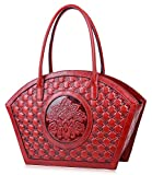 PIJUSHI Women Designer Shoulder Handbag Floral Leather Tote Purses 17020(One Size, Red Floral)