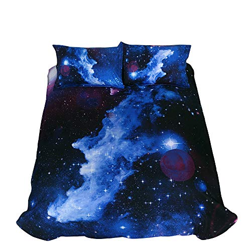 ZHH 3D Star Duvet Cover Sets Twin Size Galaxy Space Pattern Kids Bedding Set Ultra Soft Starry Theme Quilt Cover for Boys, Kids and Teens (1 Duvet Cover + 2 Pillowcases) (Twin, Galaxy D)