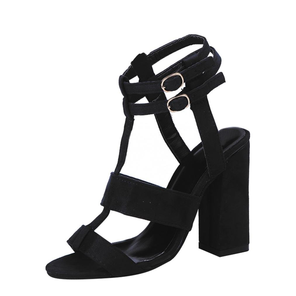 c48e14c8fcf6 Clearance Sale!OverDose Fashion Women Ladies Sandals Ankle High Heels Block  Party Open Toe Shoes  Amazon.co.uk  Clothing